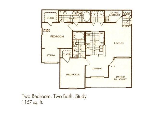 1,157 sq. ft. B5 floor plan