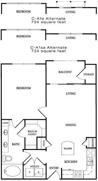 652 sq. ft. CA1 floor plan