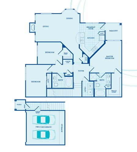 1,454 sq. ft. Willow -GAR floor plan