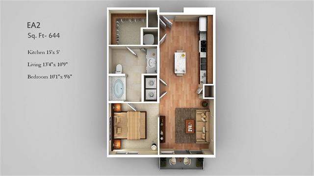 644 sq. ft. EA2 floor plan