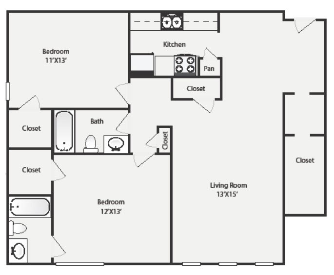 974 sq. ft. B2 floor plan