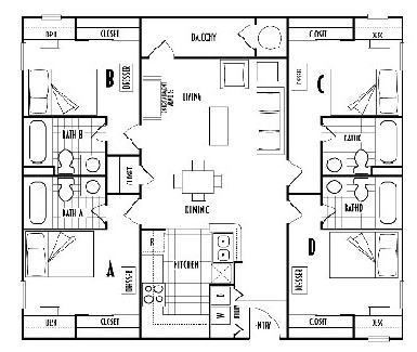 1,220 sq. ft. D4 floor plan