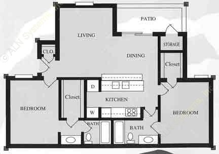 1,022 sq. ft. B2/60 floor plan