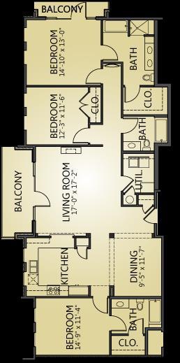 1,842 sq. ft. C1 floor plan
