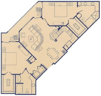1,168 sq. ft. L floor plan