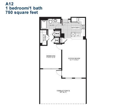 750 sq. ft. A12 floor plan