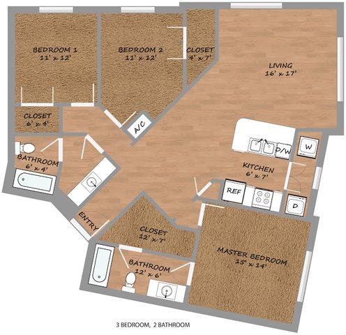 1,422 sq. ft. C1 floor plan