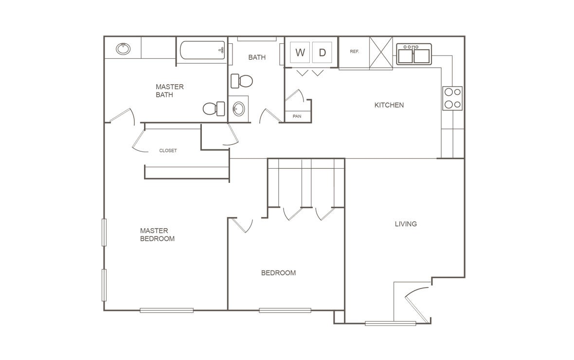 951 sq. ft. C/60% floor plan