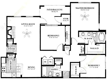 1,368 sq. ft. Arbor-down floor plan