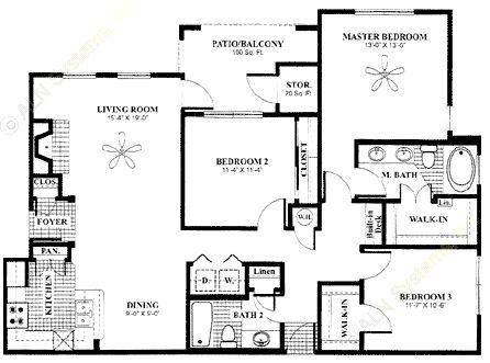 1,368 sq. ft. Arbor-down floor plan