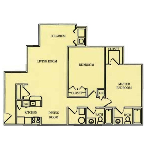 1,058 sq. ft. 60% floor plan