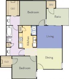 877 sq. ft. Live Oak floor plan