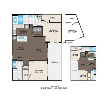 1,155 sq. ft. to 1,309 sq. ft. Mariposa I floor plan