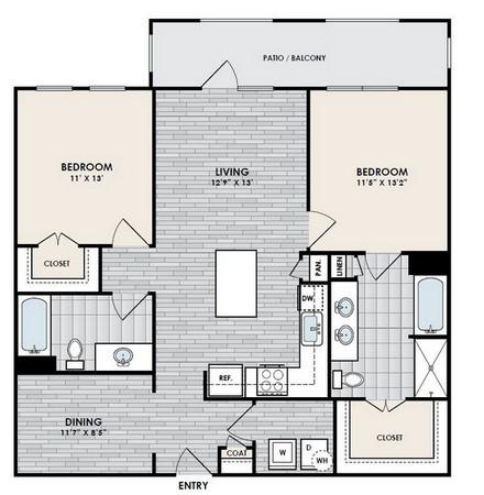 1,153 sq. ft. B4 floor plan