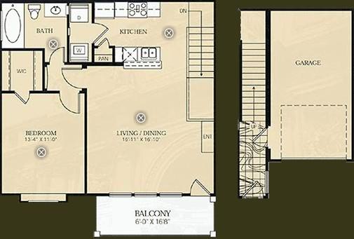 800 sq. ft. A2 - Kinkade floor plan