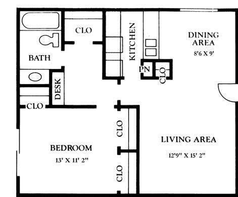 810 sq. ft. B1 floor plan