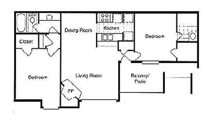 978 sq. ft. Cypress floor plan
