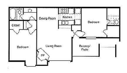 978 sq. ft. B2 floor plan
