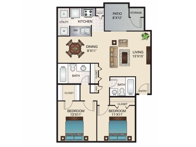 921 sq. ft. C/C1 floor plan