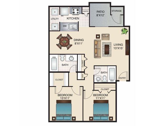 921 sq. ft. C/C1 floor plan