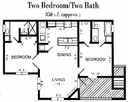 850 sq. ft. B2 floor plan