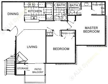 915 sq. ft. D floor plan