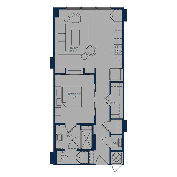 720 sq. ft. A18 floor plan