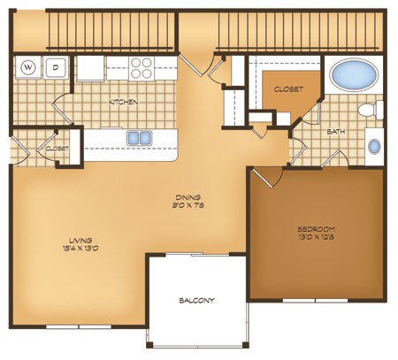 800 sq. ft. A2 Bergamo Vistas floor plan