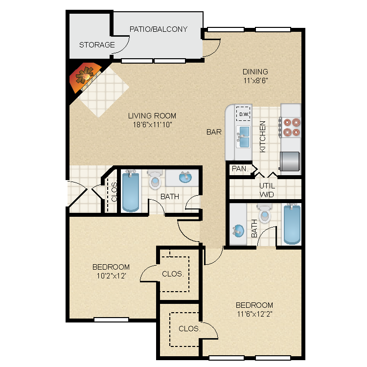1,083 sq. ft. B1 floor plan