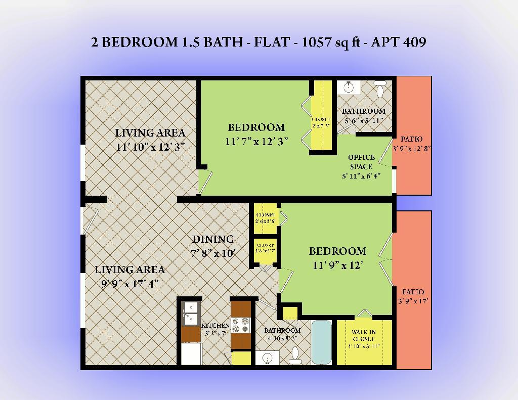 1,057 sq. ft. floor plan