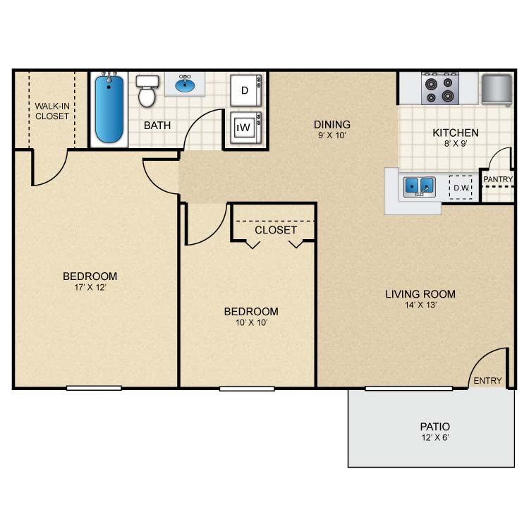 797 sq. ft. A3 floor plan