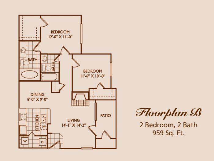 959 sq. ft. floor plan