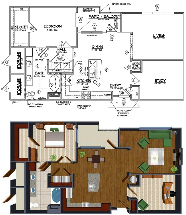 1,106 sq. ft. Ja floor plan