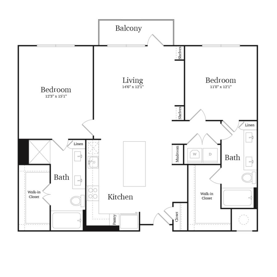 1,153 sq. ft. B3 floor plan