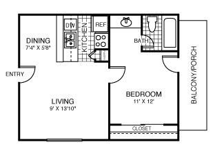 520 sq. ft. Dallas floor plan
