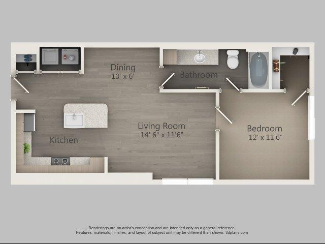 693 sq. ft. Acacia floor plan