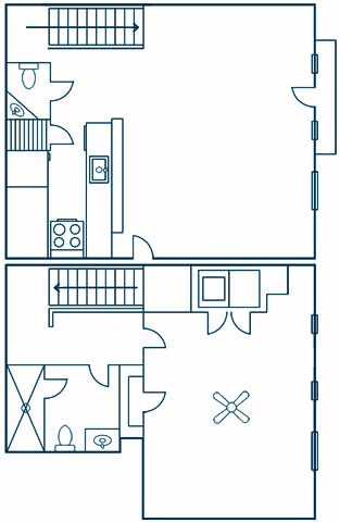 1,000 sq. ft. A2T floor plan