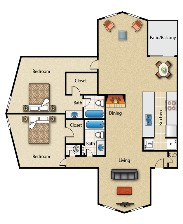 1,369 sq. ft. 2E floor plan