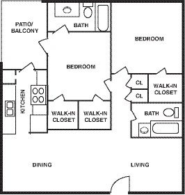 1,060 sq. ft. 80% floor plan