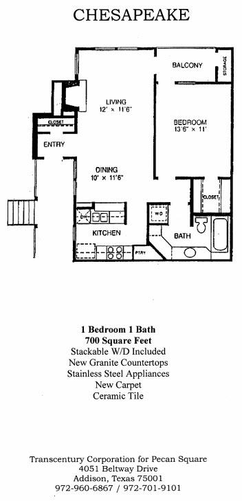 700 sq. ft. Chesapeake floor plan