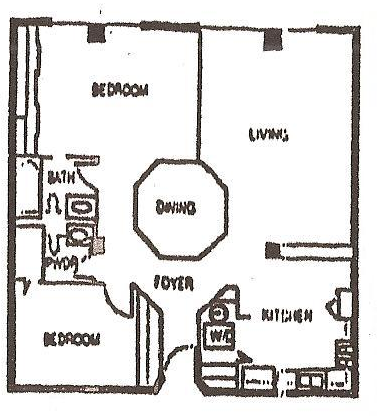 1,020 sq. ft. B floor plan