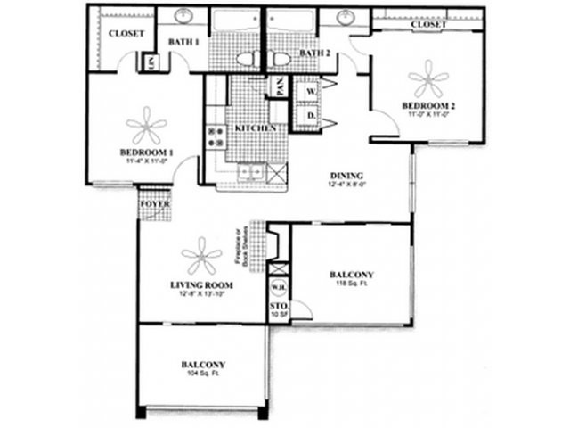 950 sq. ft. to 1,100 sq. ft. B1 floor plan