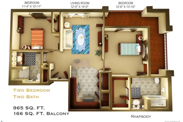 965 sq. ft. C4 floor plan