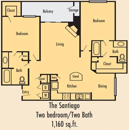 1,210 sq. ft. B3U floor plan