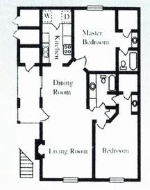 1,050 sq. ft. E floor plan