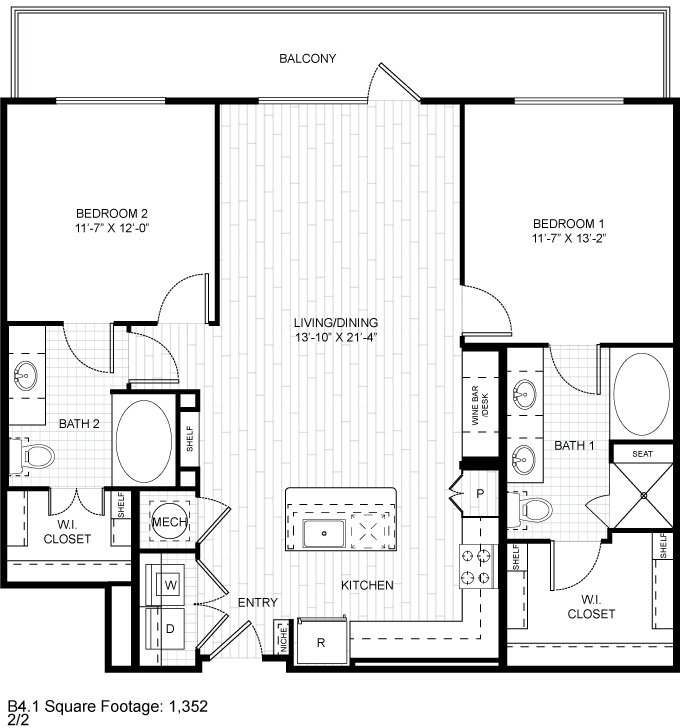 1,352 sq. ft. B4.1 floor plan