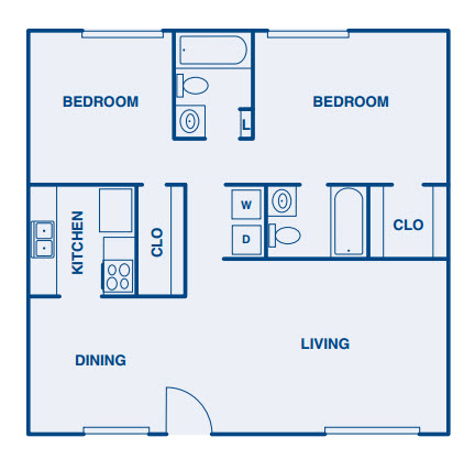 1,077 sq. ft. B floor plan