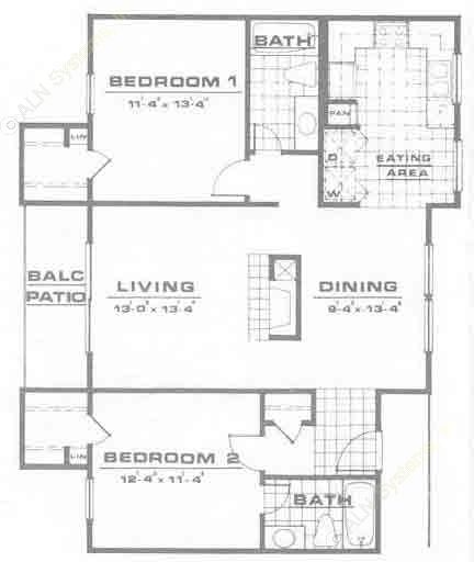 1,042 sq. ft. B2 floor plan
