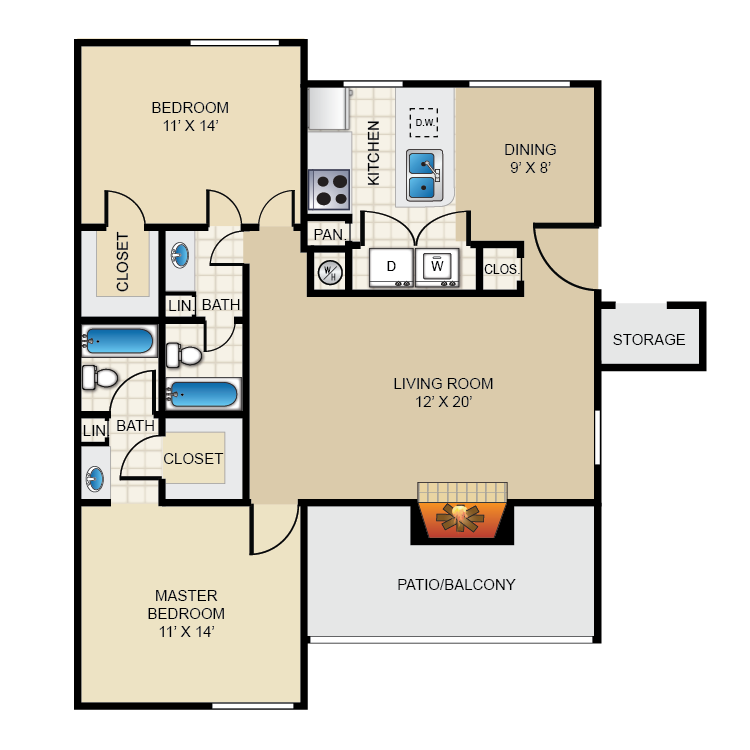 1,077 sq. ft. B3 floor plan