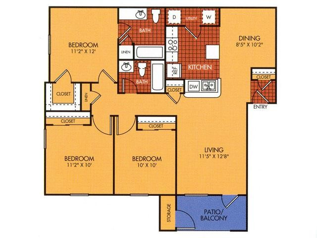 1,100 sq. ft. 50% floor plan